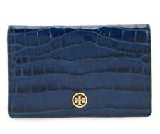 Tory Burch Parker Embossed Medium Slim Wallet TORY NAVY CROC 41824 Authentic