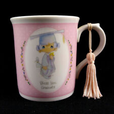 Vintage Precious Moments White Pink Graduation Mug Cup Bless You Graduate Tassel