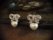 Vintage Butler & Wilson Crystal Bow and Pearl Heart Pierced Earrings