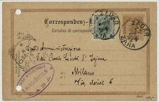 ÖSTERREICH 1895 2kr GA-Umschalg +3kr, AUSLANDSKARTE, ZADAR nach MILANO (Italien)