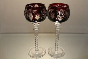 TWO (2) NACHTMANN TRAUBE BOHEMIAN CUT TALL CRYSTAL WINE HOCK RUBY RED GRAPE MINT