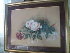 Grande aquarelle signee et datee 1906. Jete de roses.