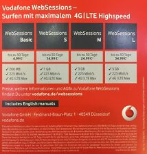 Websessions Vodafone D2 Internet Sim-Karte Web Session Prepaid Internet 4G LTE