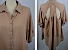FOREVER 21 PLUS Blouse Womens 1X Nude Blush Pink Lace Cut Out Back Retro Shirt