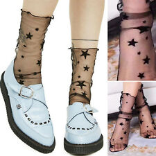 3PC Black Polka Dot Stars Sheer Mesh Stretchy Over The Ankle High Anklet Socks