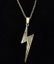 "Lightning Bolt Necklace 24"" Chain Silver Harry Potter Inspired Thunder Emo *UK*"