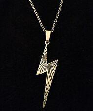 "Lightning Bolt Necklace 24"" Chain Silver Harry Potter Inspired Thunder Emo *UK*"