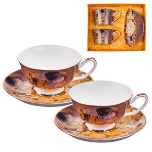Gustav Klimt the kiss set of 2 cups and 2 saucers mug Porcelain LANCASTER