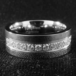 Silver Tungsten Carbide Wedding Band 13 CZ Stone Inlay Engagement Bridal Ring