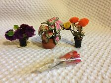 Dolls House Miniatures - 3 Plants in Pots (indoors) & Bouquet of Flowers