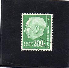 SARRE.N°408. 200f VERT. PT HEUSS 1957  OBLITERE.COTE: 32 €. PRIX: 5,45 €