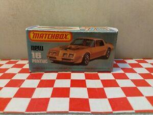 Matchbox Lesney Superfast No16  Pontiac Firebird Trans Am EMPTY REPRO BOX NO CAR
