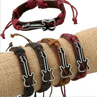 Handmade Leather Rope Wrap Guitar Bracelet Punk Cuff Wristband Bangle Jewelry