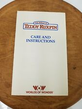 World of Teddy Ruxpin Care And Instructions Booklet