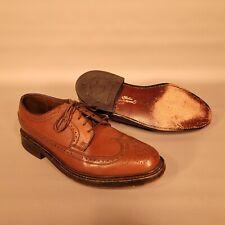 VTG Florsheim Imperial Kenmoor Mens 8 D Brown Leather Long Wingtip Dress Shoes