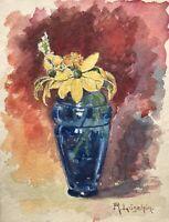Reinhard Löschin Stillleben Blaue Vase Jugendstil mit gelbem Sonnenhut Echinacea