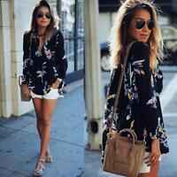ashion Loose Chiffon Womens V Neck Floral Long Sleeve T Shirt Blouse Tops US