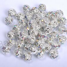 10pcs Quality Czech Crystal SILVER PLATED Charms Spacer BEADS - Choose 6-12MM