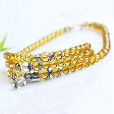 Yellow Crystal Stone Buddhist Amethyst 108 Beads Mala Bracelet Necklace Showy