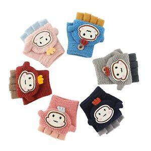 Soft Convertible Flip Top Gloves Kids Baby Winter Warm Knit Fingerless Mitten