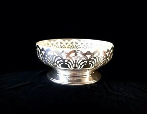 Antique EPNS Art Deco Mappin and Webb and Frosted Glass Centre Piece Bowl