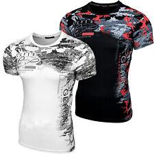 BAXBOY Herren Rundhals T-Shirt Kurzarm Hemd Slim Fit Design Fashion RD-1809 NEU