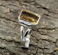 Natural Lemon Quartz Gemstone Solid 925 Sterling Silver Jewelry Rings (US)Size-7