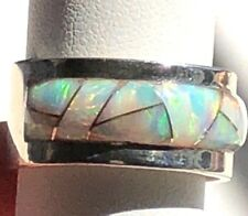 RARE SZ 14 HEAVY SOLID Men's Opal Ring White SUNSET GLOW WIDE BAND Pipe Cut