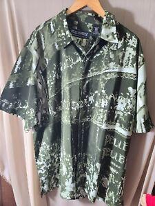 marc buchanan pelle pelle 2xl Green Button Up Short Sleeve Shirt