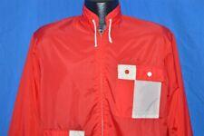 vintage 60s White Red Checkered Yin Yang Nylon Windbreaker Wind Jacket Small S