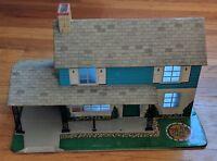 VTG Marx toy Tin Litho Colonial Modern 2 Story Blue Metal Doll house 4407