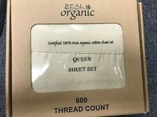 100% Organic Cotton Bed Sheet Set Queen Size, 600 Thread 15'' Deep Pocket Sheet