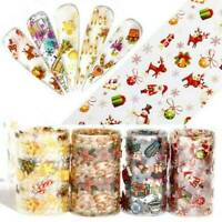 10 Roll 3D DIY Christmas Starry Nail Art Transfer Stickers Holographic Nail Foil