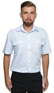 Mens Pilot Shirt Short Sleeve Security Guard Doorman Military White Epaulet