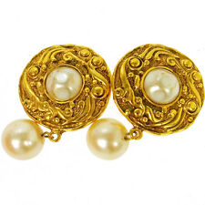 """Earrings Clip-On 1.2 - 2.0 """" T03965 Auth Chanel Vintage Cc Logos Imitation Pearl"""