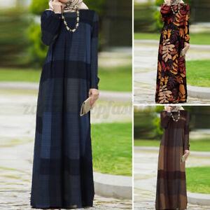 Women Muslim Islamic Abaya Kaftan Puff Sleeve Party Gown Casual Maxi Shirt Dress