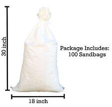 """Sandbags - 100 18""""x30"""" - Sandbag Bags Sand Bags Poly Bags - White- by Sandbaggy"""