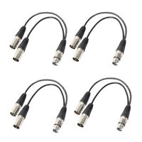 4Pcs 3Pin XLR Female Jack to Dual Male Plug Y Splitter Adapter Cable