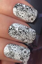 WATER NAIL TRANSFERS GRAFFITI SCRIBBLE FLORAL SKULL DARTS DECALS STICKERS *665