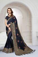 Designer Navy Blue Zari Resham Embroidery Bollywood Silk Satin Party Wear Saree