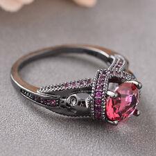 Gem Plated Black Gold Skull Shape Cct187-11 Women Luxury Ring Set Auger Rose Red