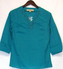 Motto 3/4 Sleeve Tunic Regular Size Tops & Blouses for Women