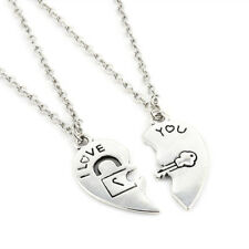 2PCS/Set I Love You Heart Lock & Key Couple Charm Pendant Necklace Chain Gift