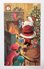 Unused Vintage Christmas Card Santa  Tree Presents Boy Girl Toy House Fireplace