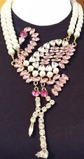 OVER THE TOP RESIN RHINESTONE PEARL BEADS PINK FLAMINGO BIRD STATEMENT NECKLACE