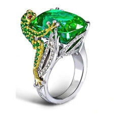 Silver Plated Cute Frog Shape Lab Created Emerald Finger Ring