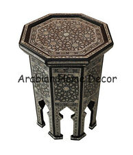 Handcrafted Egyptian Moroccan Mother of Pearl Inlay Wood Coffee Side Table