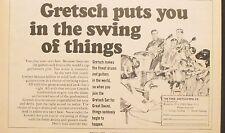 1966 Gretsch Guitar~Drums Music Memorabilia Instrument Rock Roll Trade Ad
