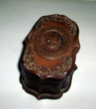 Vintage Pottery Box Relief Satyr Head Brown Matte Glaze Match Safe Art Deco
