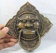 "6"" China Chinese Folk Home Copper Fu Foo Dog Lion Head Door knocker Statue"